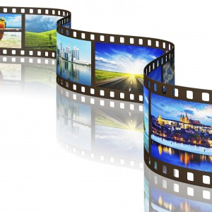 Global travel world countries concept - photo film with travel images with reflection on white background