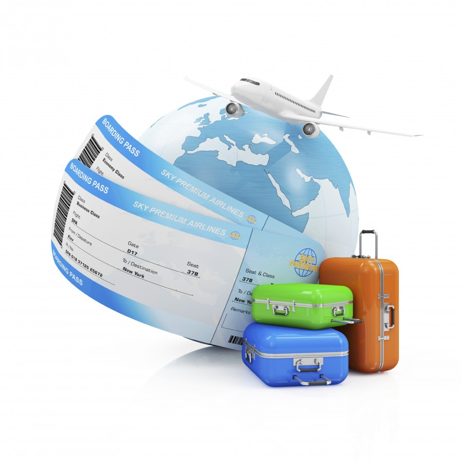 Air Travel Concept. Earth Globe with Airline Boarding Pass Tickets, luggage and Flying Passenger Airplane isolated on white background. ( Elements of this image furnished by NASA )